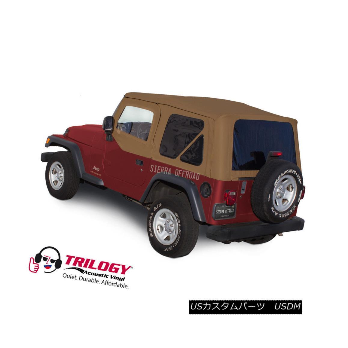 幌・ソフトトップ Jeep Wrangler TJ Soft top, 2003-2006, Tinted Windows, Upper Doors, Saddle Twill ジープラングラーTJソフトトップ、2003-2006、ティンテッドウインドウ、アッパードア、サドルツイル