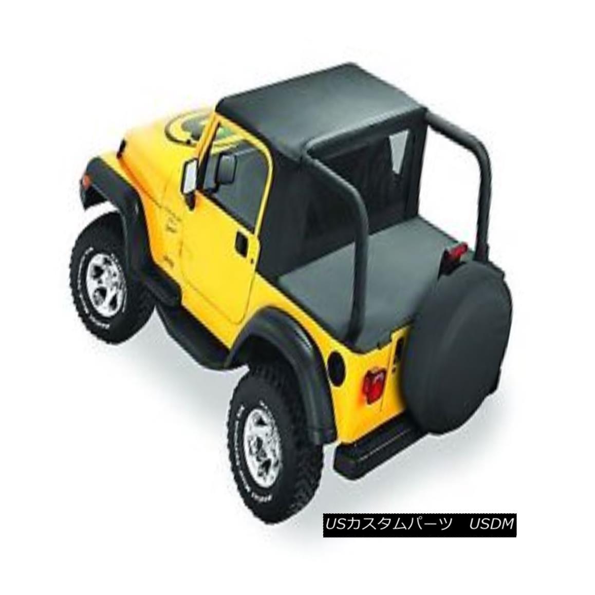 幌・ソフトトップ Bestop Halftop 97-02 Jeep Wrangler TJ w/ Factory Soft Top Hardware Black Denim ベストトップハーフトップ97-02ジープラングラーTJ w /ファクトリーソフトトップハードウェアブラックデニム