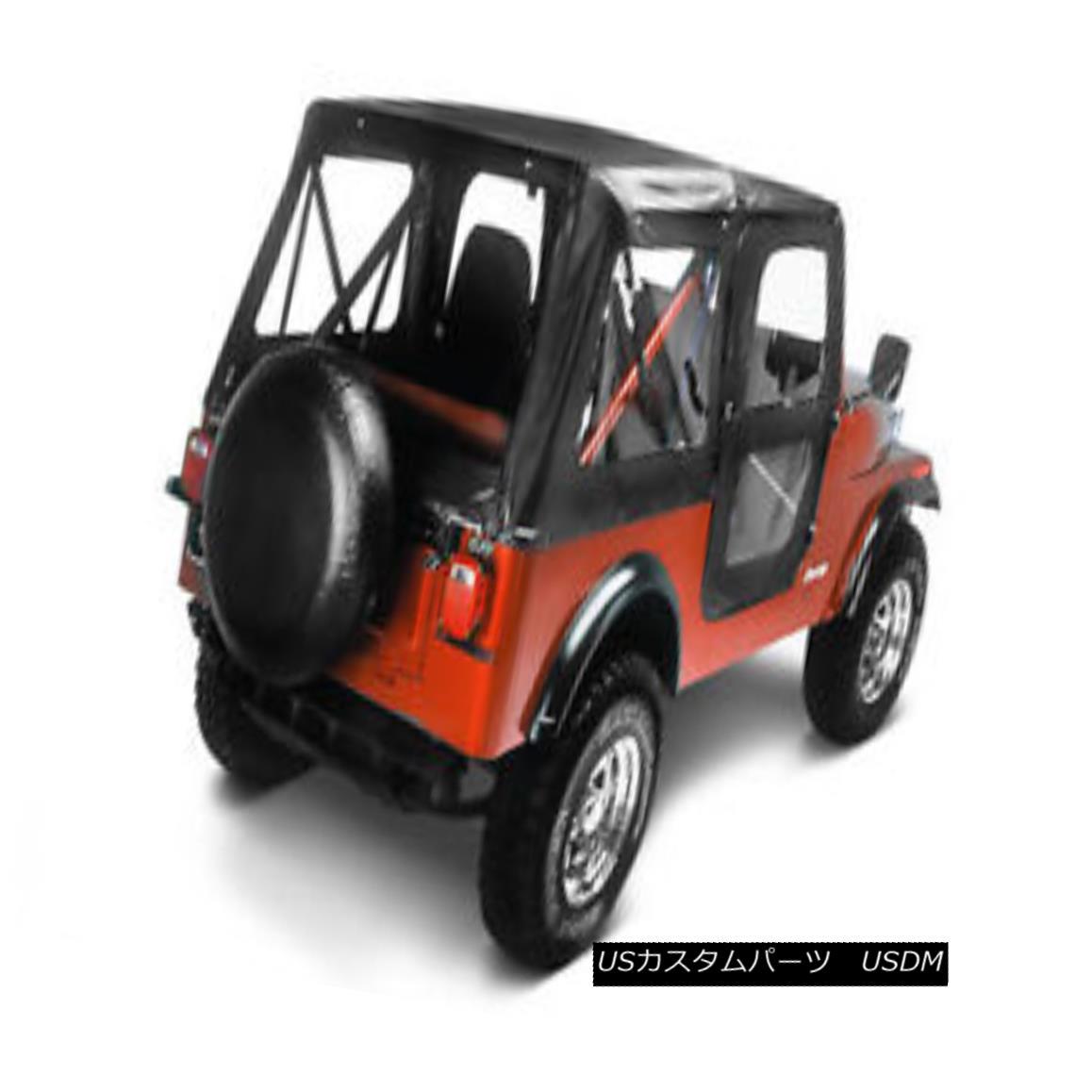 幌・ソフトトップ Bestop Replace A Top 76-86 Jeep CJ7 Door Skins Clear Windows Black Crush ベストトップを交換する76-86ジープCJ7ドアスキンクリアウィンドウブラッククラッシュ