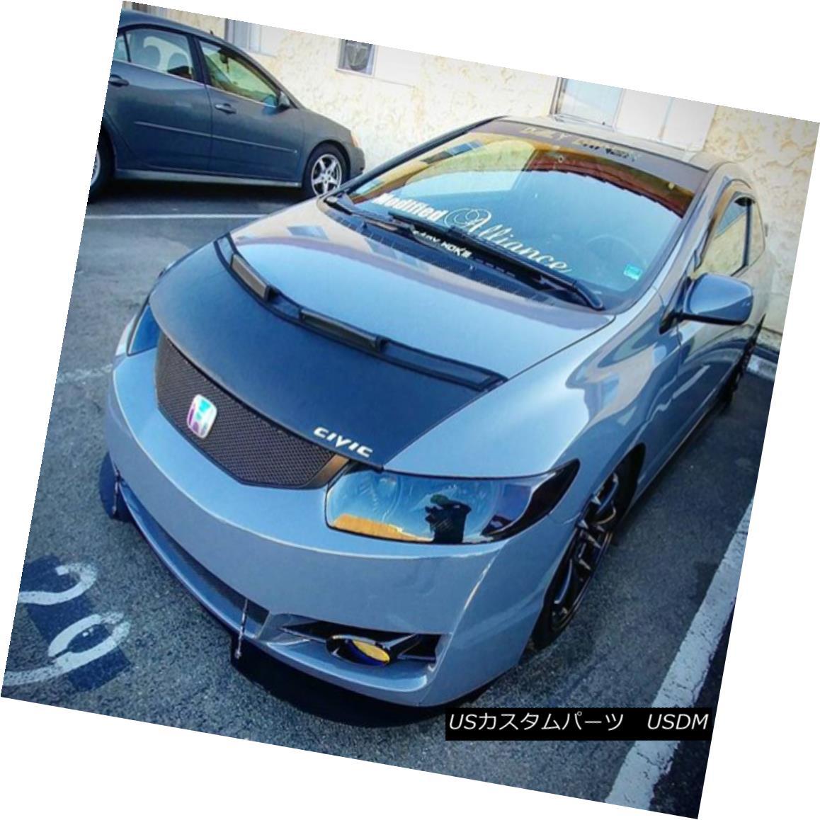 Hood Civic Bra フルブラ Honda 2010 LOGO Bonnet 08 2011 09 08 2010 07 + 09 07 Fits カーボンネットマスクフードブラジャー+ロゴフィットホンダシビッククーペ06 2011 Coupe Car ノーズブラ 06 Mask