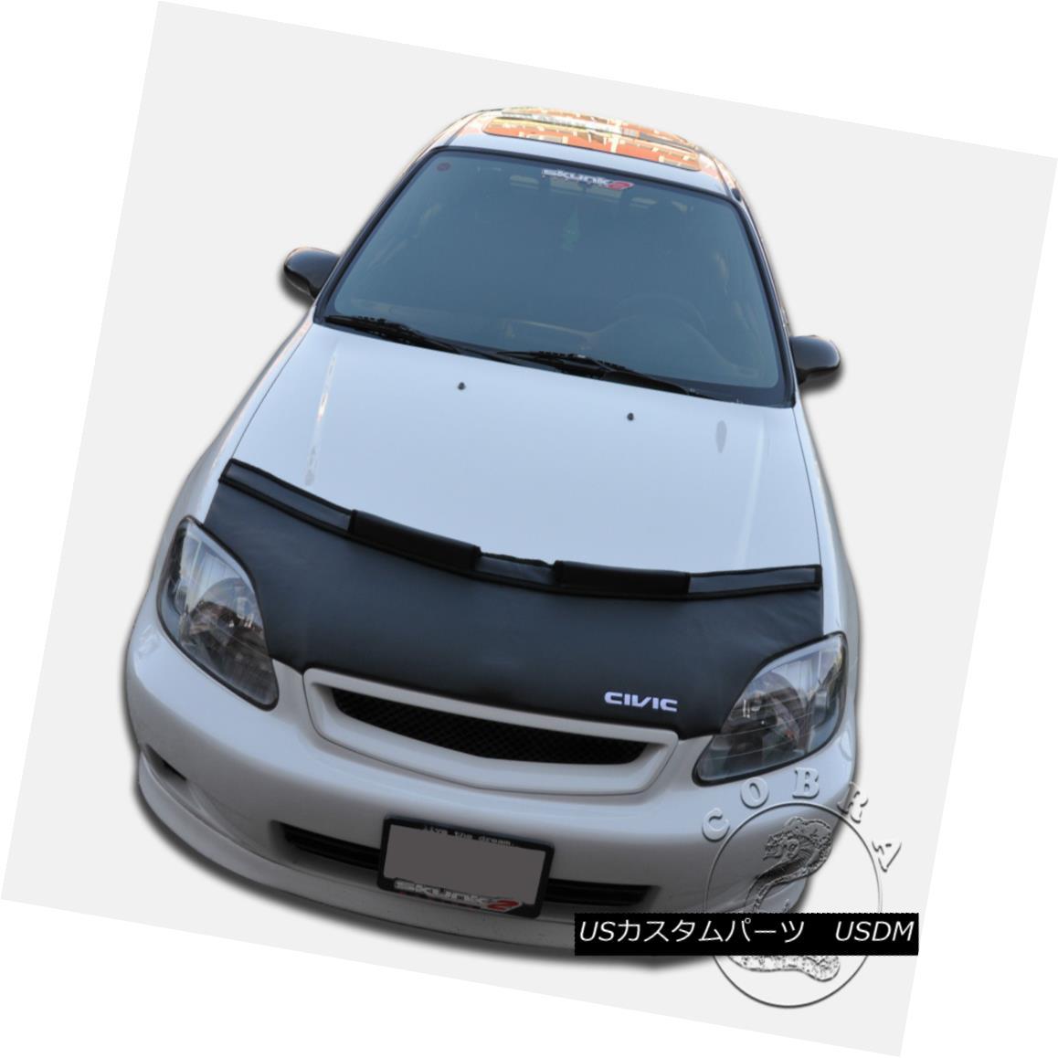 フルブラ ノーズブラ Car Bonnet Mask Hood Bra + CIVIC LOGO Fits Honda Civic 1999 2000 99 00 EK カーボンネットマスクフードブラジャー+シビックロゴフィットホンダシビック1999 2000 99 00 EK