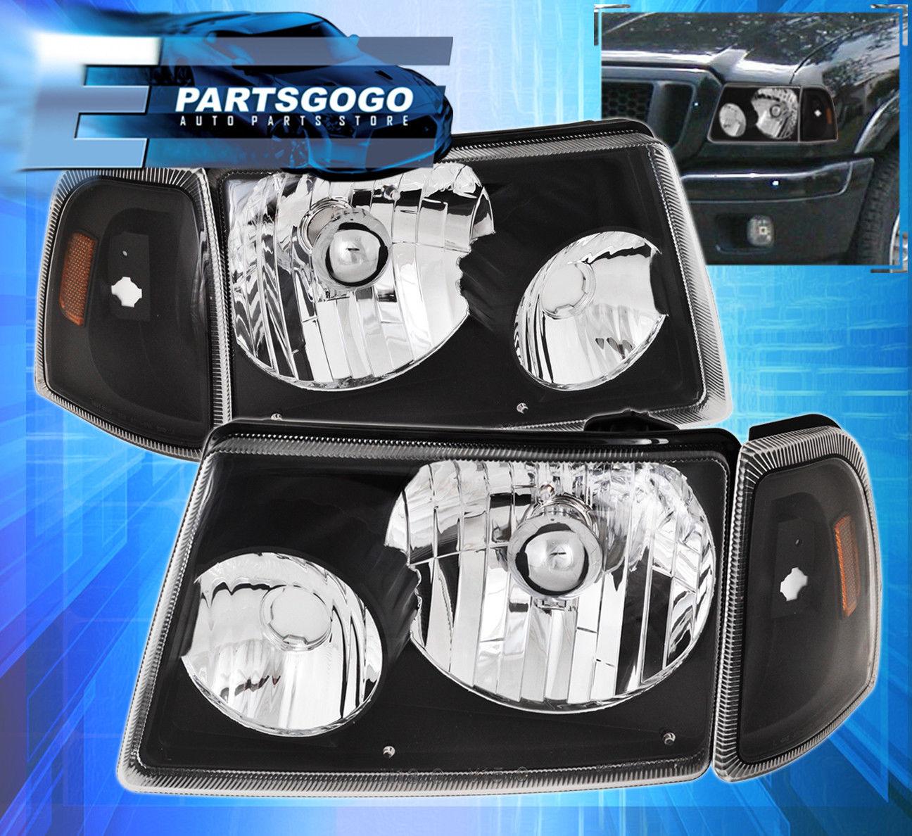 コーナーライト 01-12 Ranger Direct Replacement Driving Head Lights Corner Lamps Lh Rh Set Black 01-12レンジャーダイレクト交換ヘッドランプコーナーランプLh Rhセットブラック