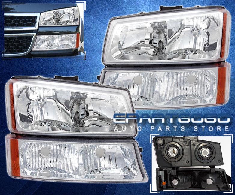 コーナーライト 03-06 Chevy Silverado Avalanche Chrome + Amber Headlights + Parking Bumper Lamps 03-06 Chevy Silverado Avalanche Chrome +アンバーヘッドライト+パーキングバンパーランプ
