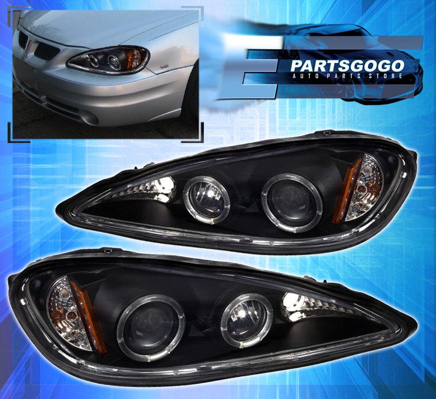 コーナーライト 99-05 Grand Am LED Halo Projector Black Headlights with 8 LED DRL Fog Lamps 99-05 Grand Am LED Haloプロジェクターブラックヘッドライト、8つのLED DRLフォグランプ