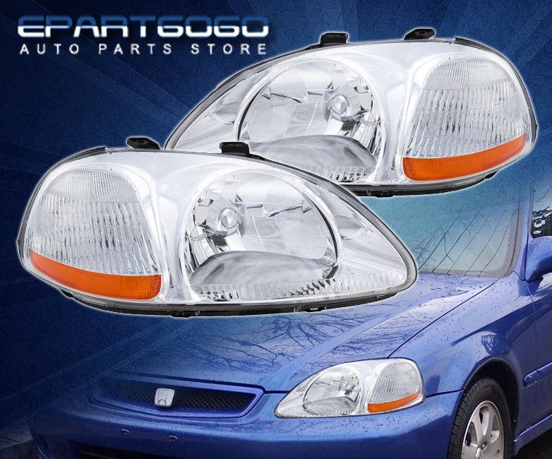 コーナーライト 96-98 Honda Civic EK JDM Chrome Amber Headlights with 8 LED 6000K DRL Fog Lamps 96-98ホンダシビックEK JDMクロームアンバーヘッドライト8 LED 6000K DRLフォグランプ