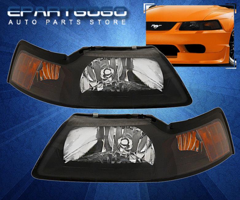 コーナーライト 99-04 Mustang GT Cobra Black Amber Headlights with 8 LED 6000K DRL Fog Lights 99-04 Mustang GTコブラブラックオレンジヘッドライト、8 LED 6000K DRLフォグライト