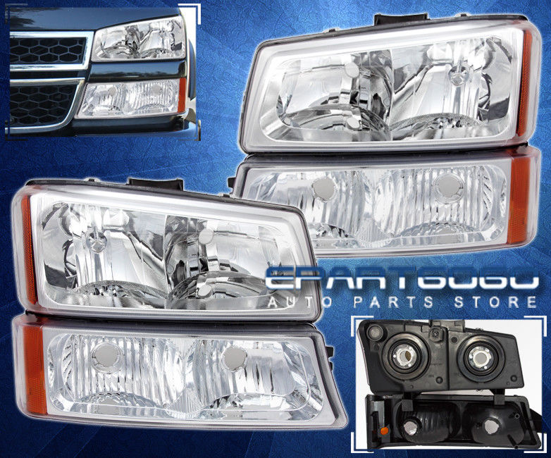 コーナーライト 03-06 Chevy Silverado Avalanche Chrome + Amber Headlights + Parking Bumper Lamps 03-06 Chevy Silverado Avalanche Chrome +アンバーヘッドライト+パーキングバンパーランプ
