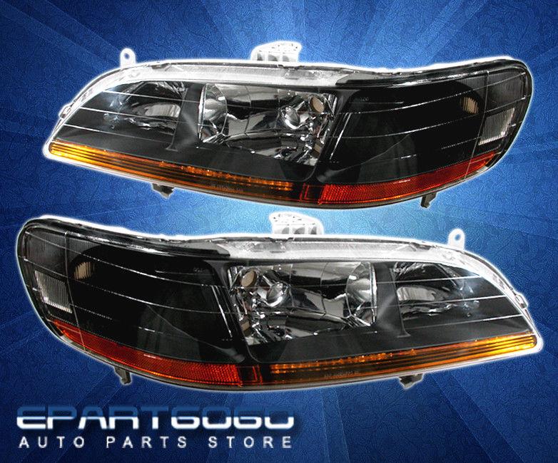 コーナーライト 98-02 Accord 2/4 DR JDM Black Headlights Full Amber Strip + 8 LED DRL Fog Lamps 98-02 Accord 2/4 DR JDMブラックヘッドライトフルアンバーストリップ+ 8 LED DRLフォグランプ