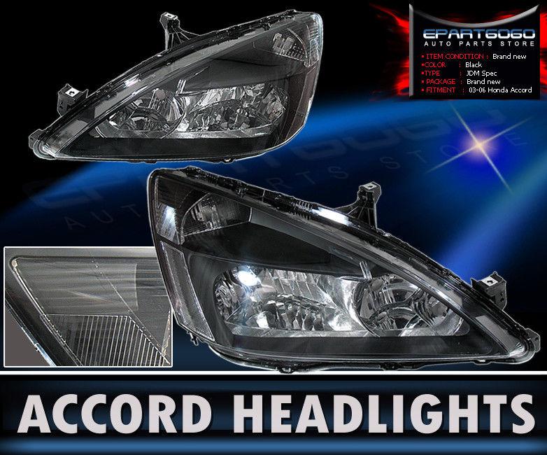 コーナーライト 03-07 Accord 2Dr/4Dr Jdm Crystal Black Headlights With 8 Led Drl Fog Lamps Set 03-07アコード2Dr / 4Dr Jdmクリスタルブラックヘッドライトと8つのLEDのフォグランプセット