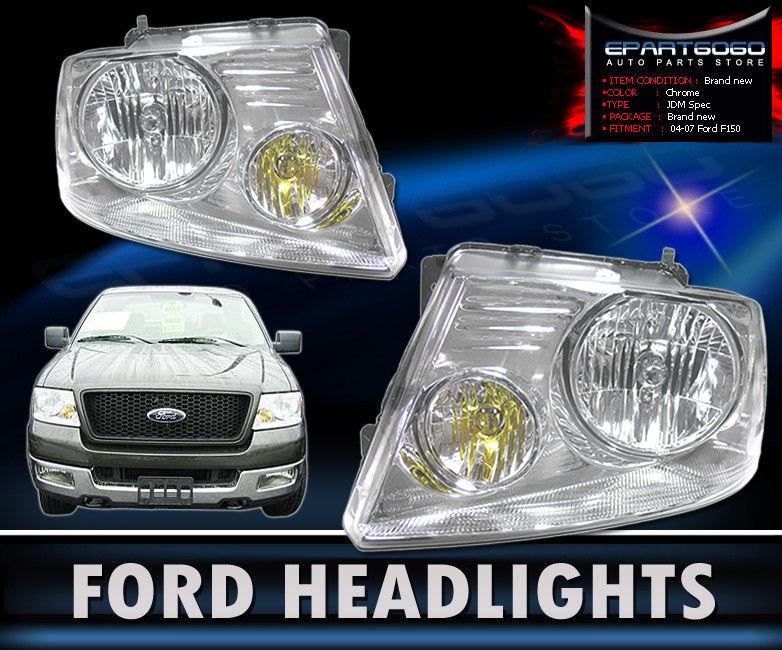コーナーライト 04-08 F150 F-150 Pick Up Chrome Clear Crystal Headlights with 8 LED DRL Fog Lamp 04-08 F150 F-150 8個のLED DRLフォグランプでクロームクリアクリスタルヘッドライトをピックアップ