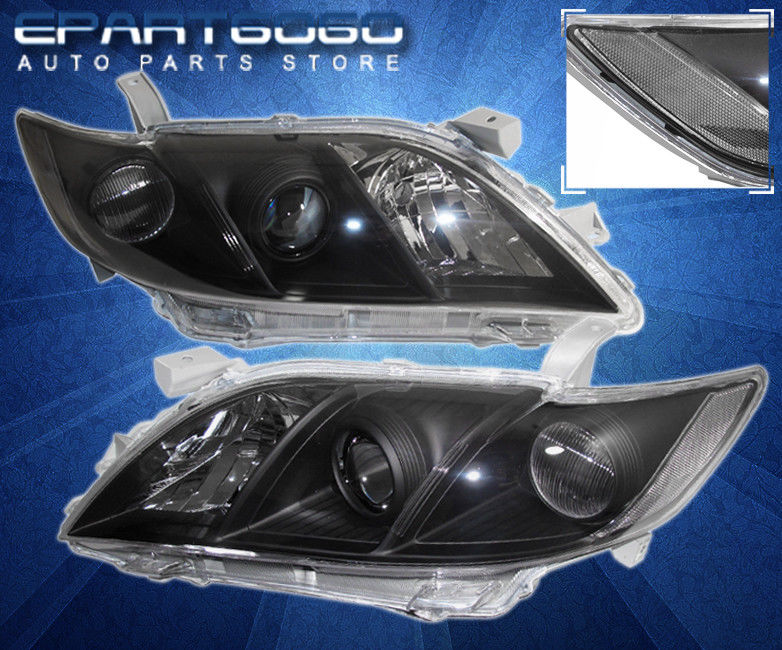 コーナーライト 07 08 09 Camry Black Clear Projector Headlights with 8 LED 6000K DRL Fog Lamps 07 08 09 Camry Blackクリアプロジェクターヘッドライト、8 LED 6000K DRLフォグランプ