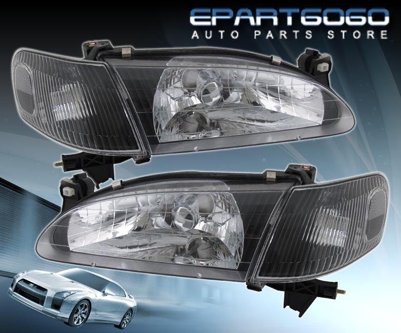 コーナーライト 98-00 Corolla CE/LE/VE JDM Black Clear Headlights and 8 LED 6000K DRL Fog Lamps 98-00カローラCE / LE / VE JDMブラッククリアヘッドライトと8 LED 6000K DRLフォグランプ