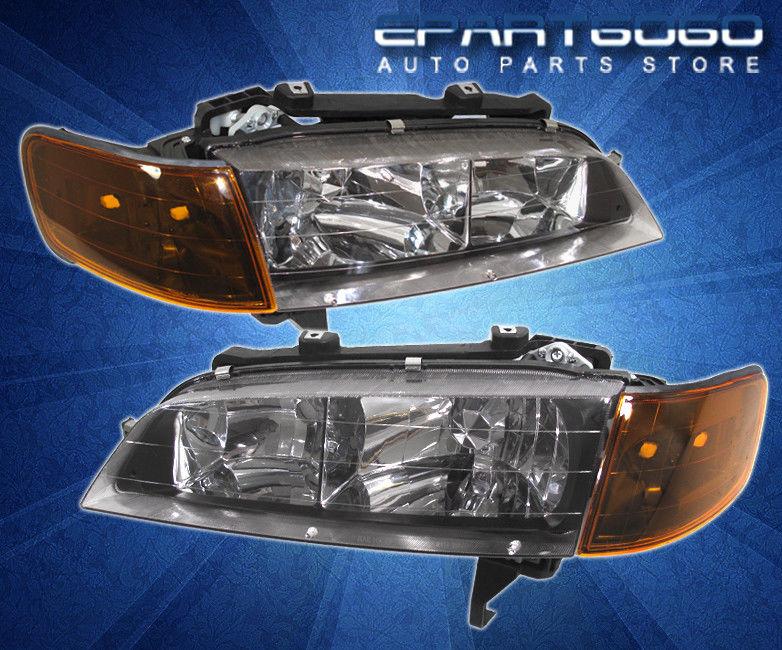 コーナーライト 94-97 Accord 2/4 DR JDM Headlights Amber Corners with 8 LED 6000K DRL Fog Lamp 94-97アコード2/4 DR JDMヘッドライト8 LED 6000K DRLフォグランプ付きアンバーコーナー
