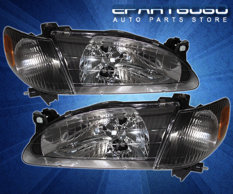 コーナーライト 98-00 Corolla Ce/Le/Ve Jdm Black Amber Headlights And 8 Led 6000K Drl Fog Lamps 98-00カローラCe / Le / Ve Jdmブラックアンバーヘッドライトと8つのLED 6000K Drlフォグランプ