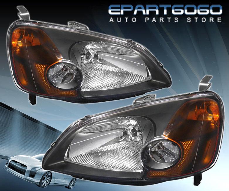 コーナーライト 01-03 Civic 2/4DR JDM Crystal Black Amber Headlights with 8 LED 6000K DRL Fogs 01-03シビック2 / 4DR JDMクリスタルブラックアンバーヘッドライト、8 LED 6000K DRLフォグ