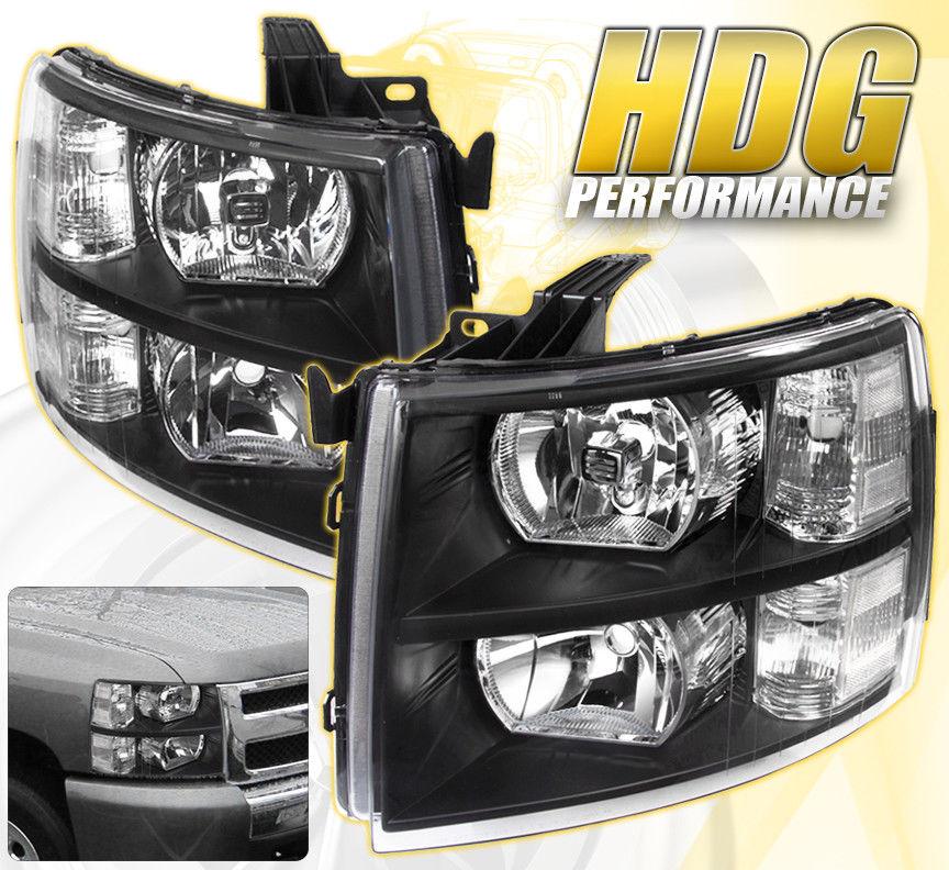 コーナーライト 07-14 Silverado Replacement Driving Head Lights Lamps Pairs Assembly Unit Black 07-14シルバラード交換用ヘッドライトランプペアアセンブリユニットブラック