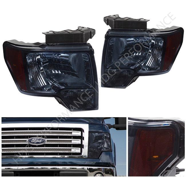 コーナーライト SMOKE LENS CRYSTAL STYLE HEADLIGHT WITH AMBER CORNER LIGHT FOR 09-2014 FORD F150 09-2014 FORD F150用の薄い角のライト付きのSMOKE LENS CRYSTAL STYLEヘッドライト
