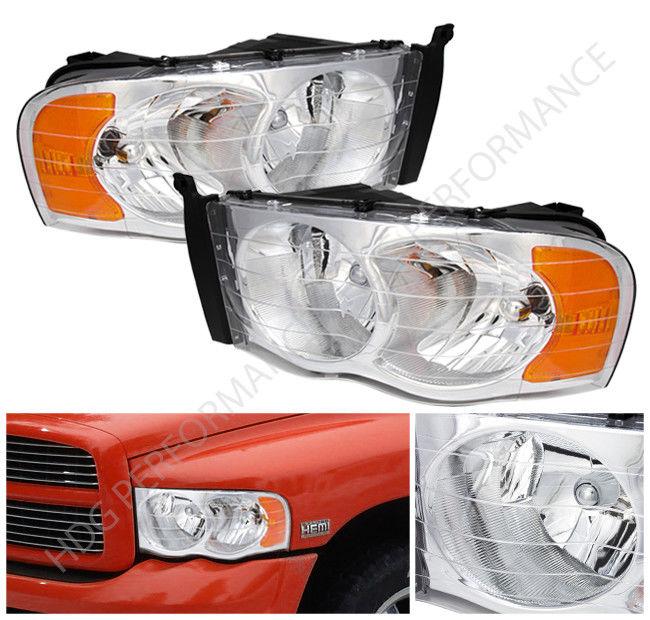 コーナーライト 02-05 Dodge Ram 1500 2500 Truck Chrome Housing Headlights With Amber Reflectors 02-05ドッジ・ラム1500 2500トラック・クローム・ハウジング・ヘッドライト(アンバー・リフレクタ付)