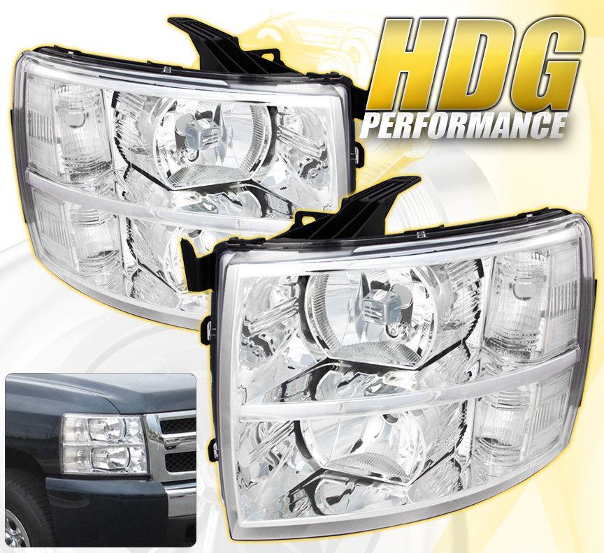 コーナーライト 07-14 SILVERADO REPLACEMENT DRIVING HEAD LIGHTS LAMPS PAIRS ASSEMBLY UNIT CHROME 07-14シルバラード交換用ヘッドライトランプペア組立ユニットクローム