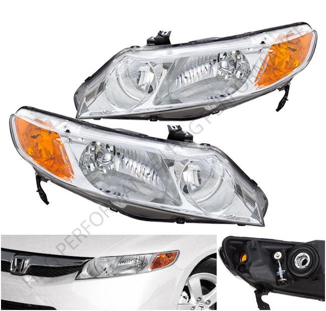 コーナーライト 06-2011 Honda Civic 4DR Sedan Chrome Housing Headlights with Amber Reflectors 06-2011 Honda Civic 4DRセダンクロームハウジングヘッドライト、アンバーリフレクター付