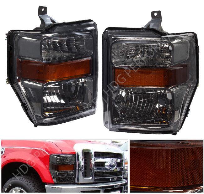 コーナーライト 08-10 F250 F350 Driving Head Lights Lamps Pair Assembly Unit Smoke Lens Amber 08-10 F250 F350駆動ヘッドライトランプペアアセンブリユニットスモークレンズアンバー