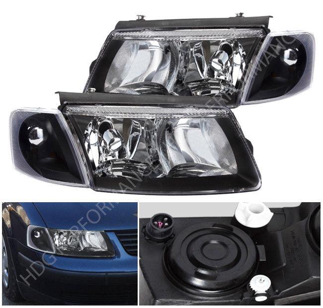 コーナーライト 98-00 VW Passat Black Housing Head Lights with Turn Signal Corner Lamps Set 98-00 VWパサートブラックハウジングヘッドライト、ターンシグナルコーナーランプセット