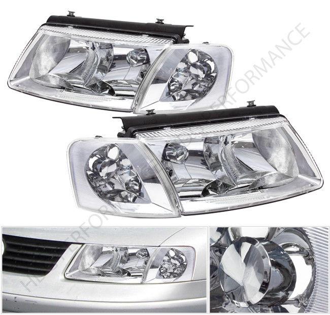 コーナーライト 98-00 VW Passat Chrome Housing Head Lights with Turn Signal Corner Lamps Set 98-00 VWパサートクロームハウジングヘッドライト、ターンシグナルコーナーランプセット