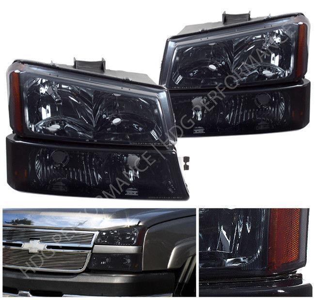 コーナーライト 03-06 Chevy Silverado 1500 2500 Smoked Lens Amber Headlights + Bumper Lamps 03-06 Chevy Silverado 1500 2500スモークレンズアンバーヘッドライト+バンパーランプ