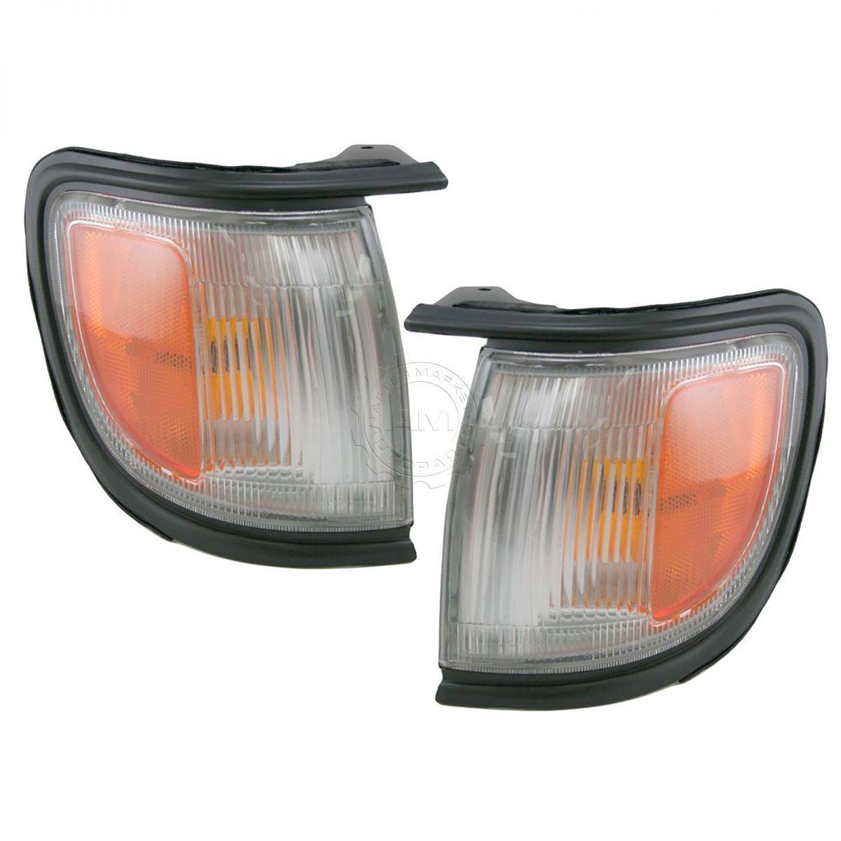 コーナーライト Marker Signal Corner Parking Light Pair Set w/ Black Bezel For 96-99 Pathfinder マーカ信号コーナーパーキングライトペア(96-99パスファインダー用ブラックベゼル付)