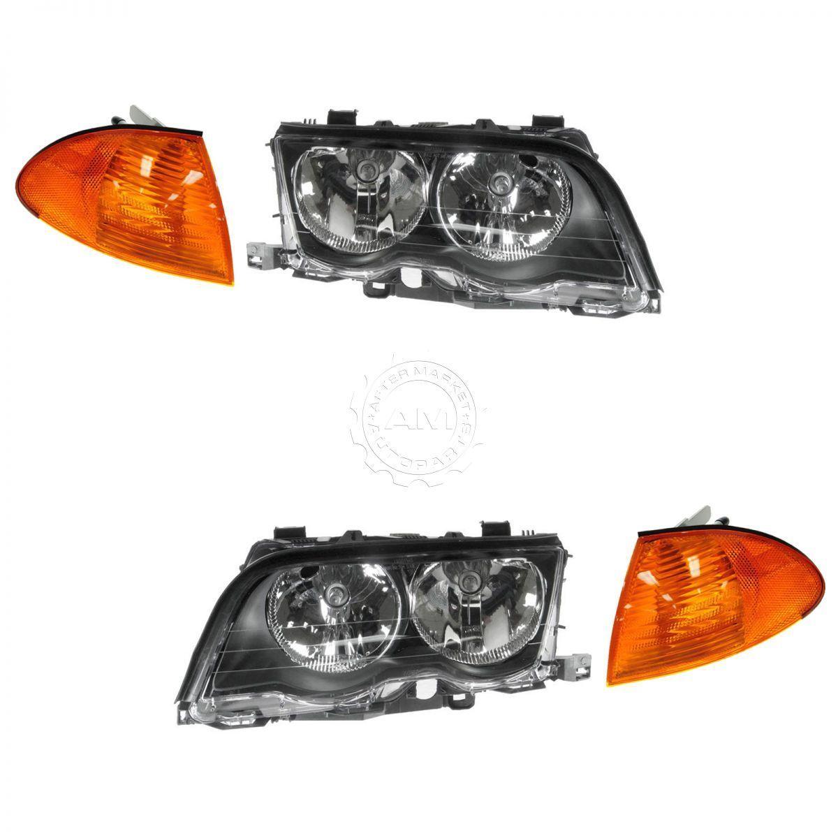 コーナーライト Headlight & Amber Corner Light Lamp Kit Set of 4 for BMW 3 Series NEW ヘッドライト& BMW 3シリーズのための4のアンバーコーナーライトランプキットセットNEW