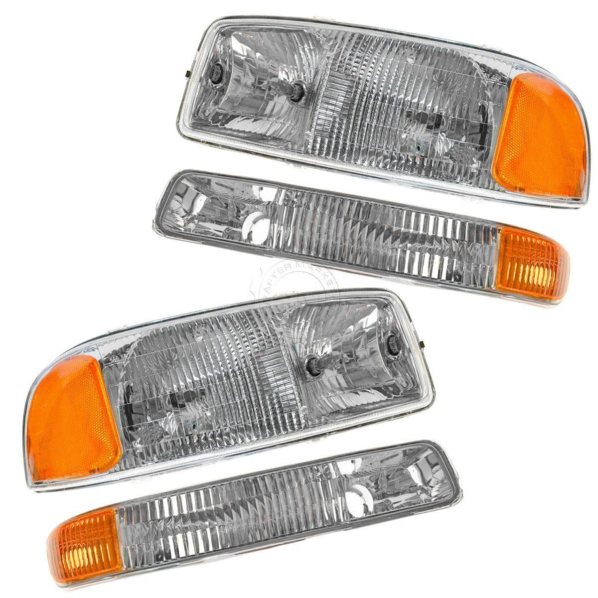 コーナーライト Headlight Headlamp & Corner Parking Lights Set Kit for GMC Sierra Truck Yukon ヘッドライトヘッドランプ& GMC Sierra Truckユーコンのコーナーパーキングライトセットキット