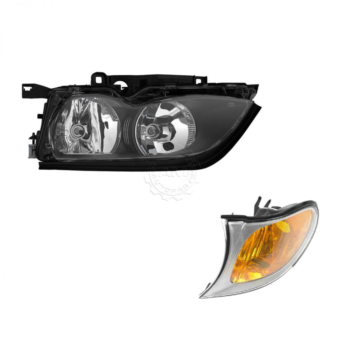 コーナーライト Headlight and Corner Light with Chrome Trim LH Driver for BMW 320i 325i 330i BMW 320i 325i 330i用クロムトリムLHドライバ付きヘッドライトとコーナーライト