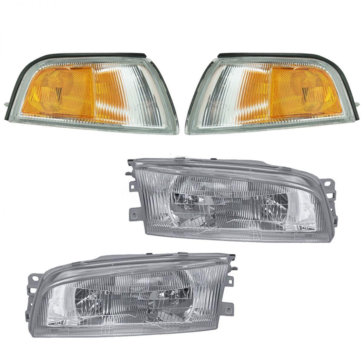 コーナーライト Headlights Lamps Corner Turn Signals Set of 4 for 97-02 Mitsubishi Mirage Sedan ヘッドライトランプコーナーターンシグナル97-02三菱ミラージュセダン用4個セット