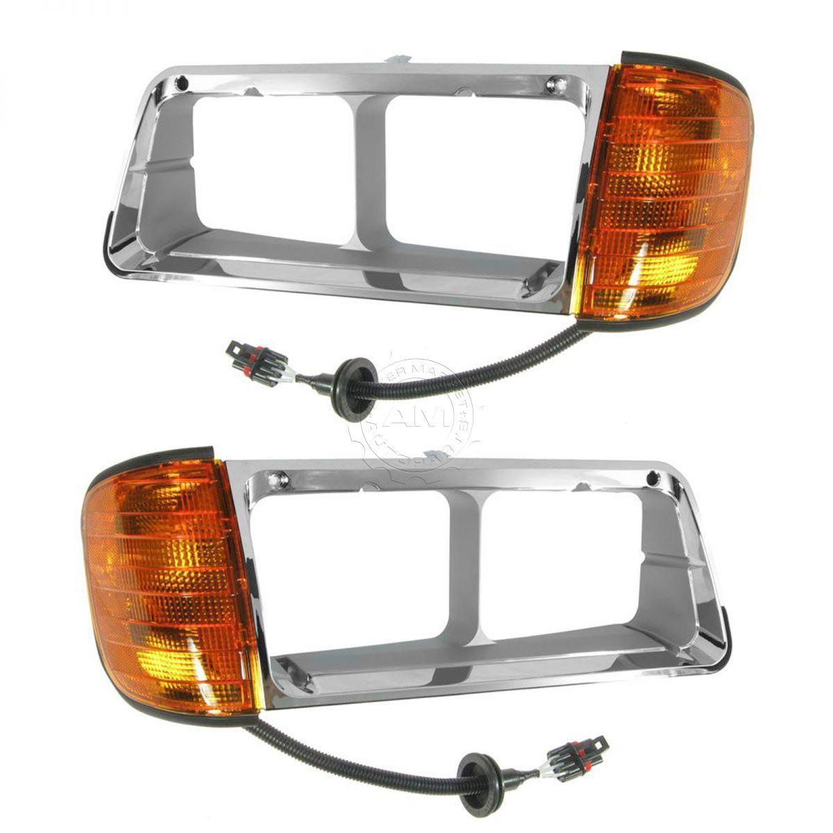 コーナーライト Chrome Inner Headlamp Headlight Bezel LH & RH Pair Set for FLD 112 120 クロームインナーヘッドランプヘッドライトベゼルLH& FLペア112 120用のRHペアセット
