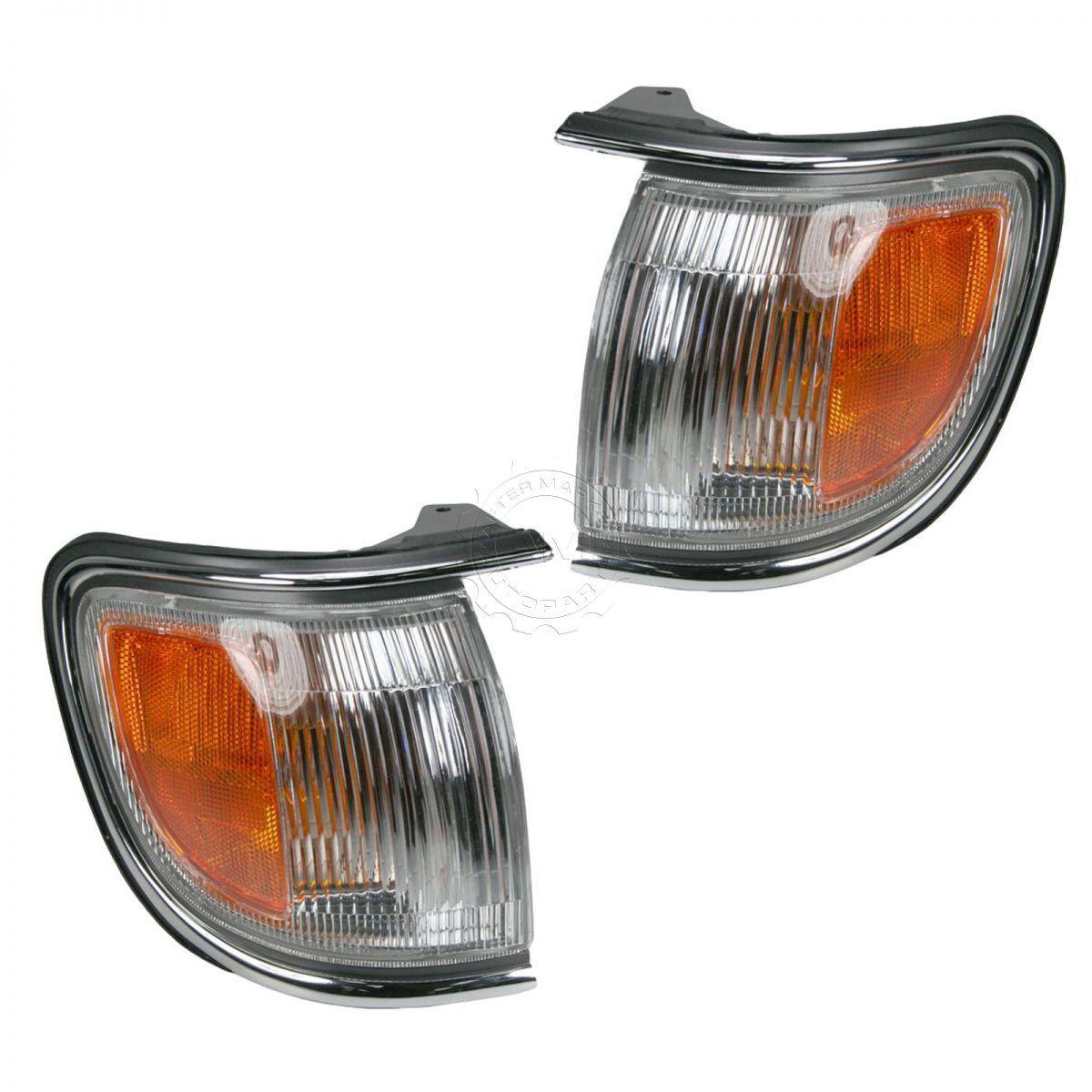 コーナーライト Chrome Corner Parking Light Lamp Set Pair for 96-99 Nissan Pathfinder 96-99日産パスファインダー用クロムコーナーパーキングライトランプセットペア