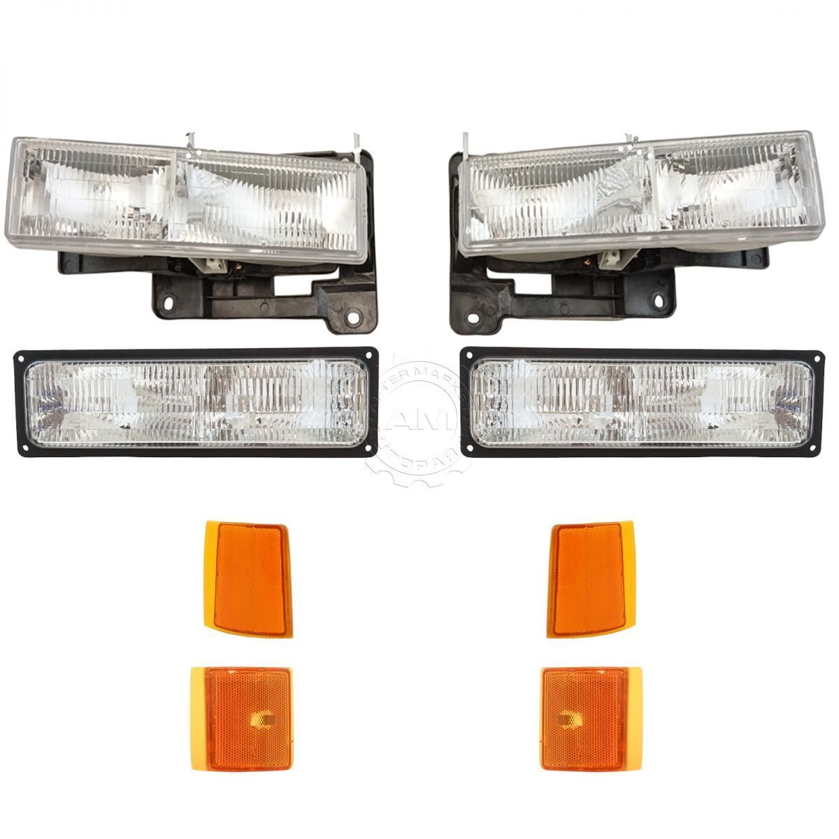 コーナーライト Headlights & Corner Parking Lights Left & Right Set Kit for GMC Truck Suburban ヘッドライト& コーナーパーキングライト& GMCトラック郊外の右セットキット
