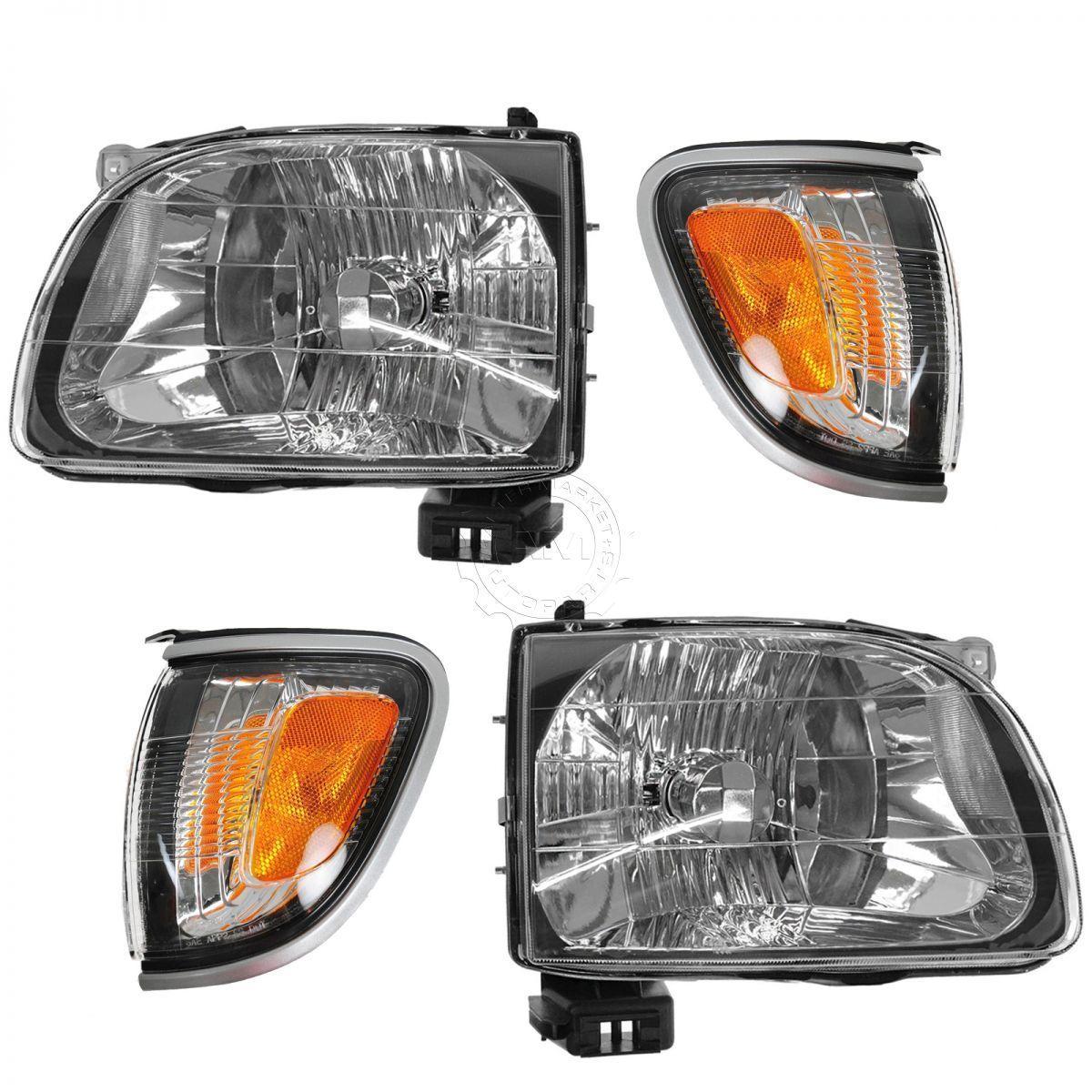 コーナーライト Headlight Parking Light Lamp LH RH 4 Piece Kit Silver for 01-04 Tacoma Truck New ヘッドライトパーキングライトランプLH RH 4ピースキットシルバー01-04タコマトラックNew