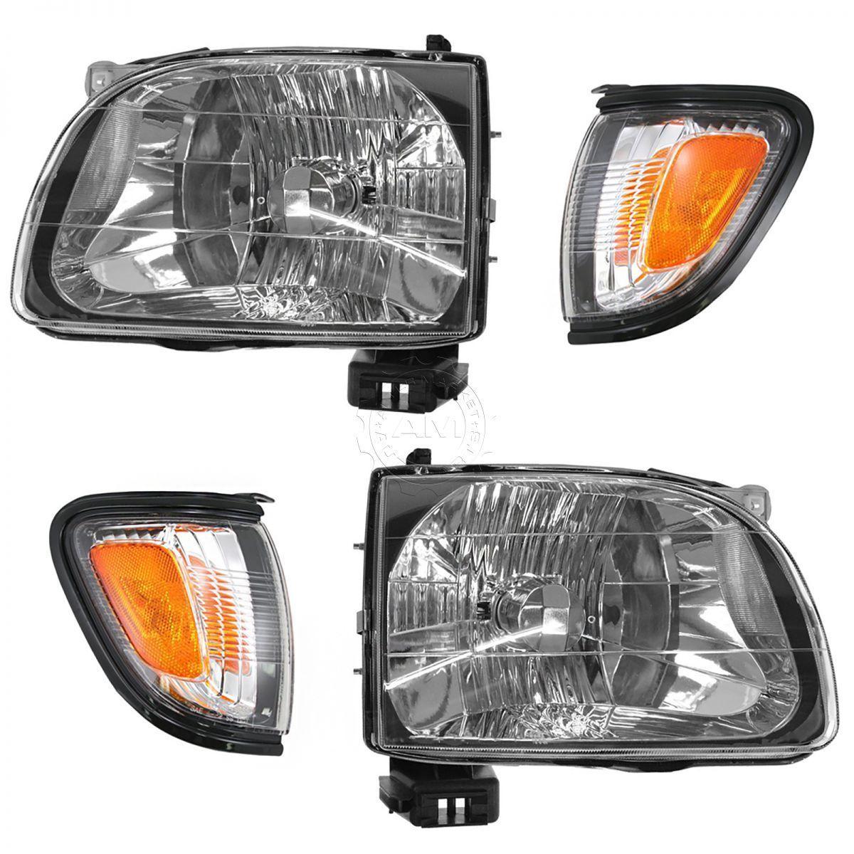 コーナーライト Headlight Parking Light Lamp LH RH 4 Piece Kit Black for 01-04 Tacoma Truck New ヘッドライトパーキングライトランプLH RH 4ピースキットブラックfor 01-04タコマトラックNew