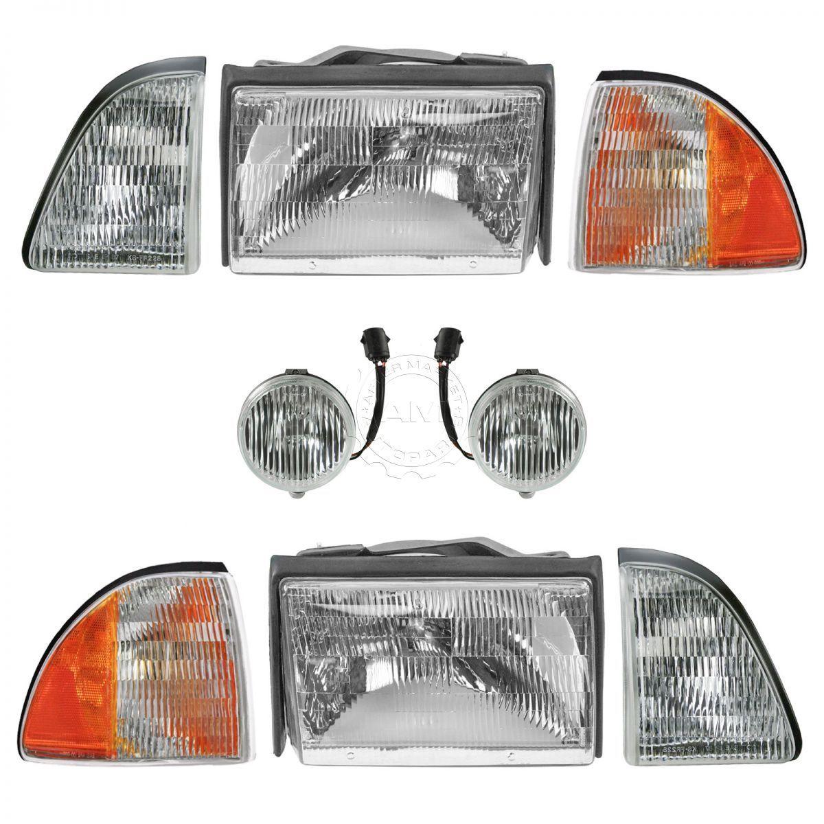 コーナーライト Headlight Parking Fog Turn Signal Light Kit 8 Piece Set for 87-93 Ford Mustang ヘッドライトパーキングフォグターンシグナルライトキット87-93 Ford Mustang用8ピースセット