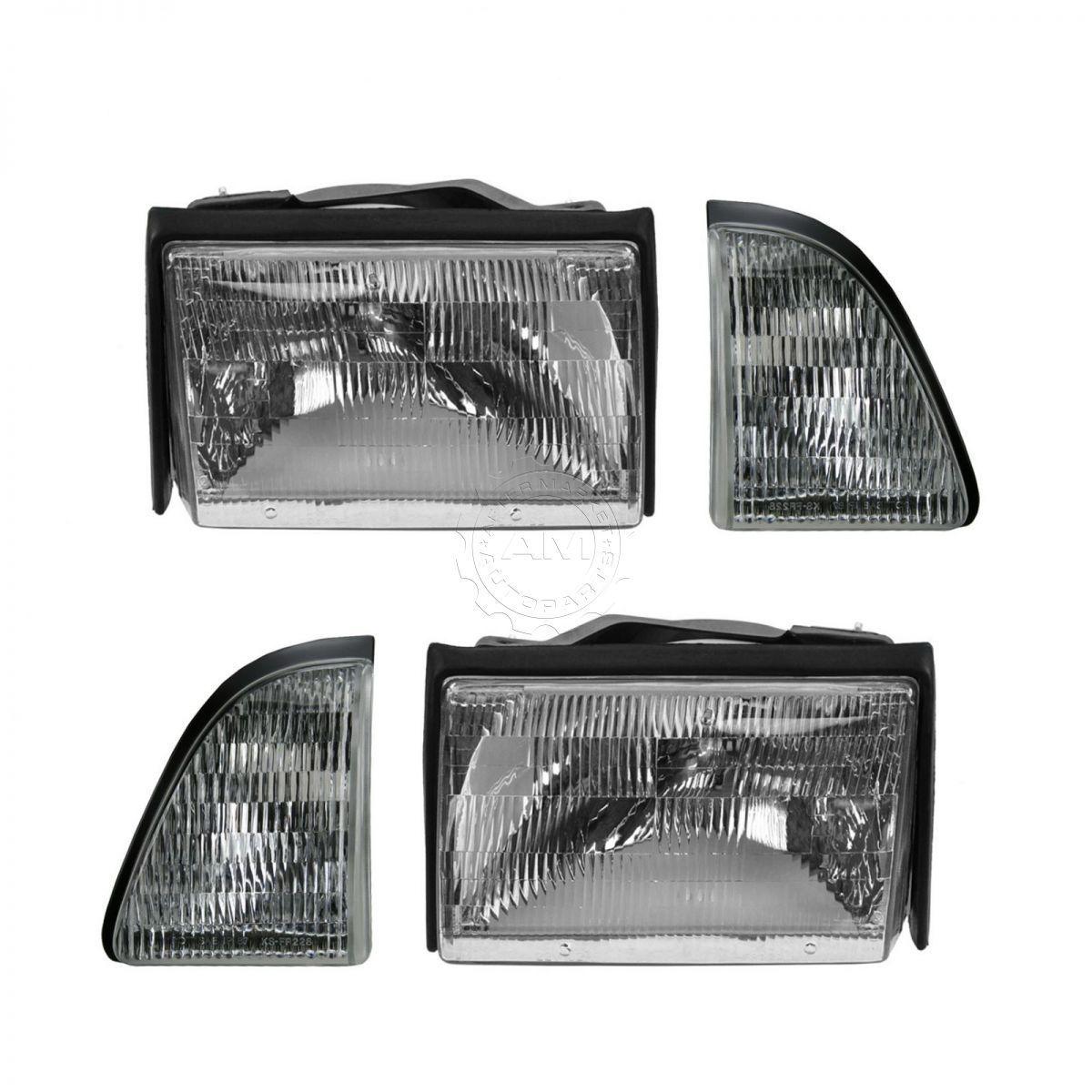 コーナーライト Headlight Headlamp Side Corner Turn Signal Light Set Kit for 87-93 Ford Mustang ヘッドライトヘッドランプサイドコーナーターンシグナルライトキット87-93フォードマスタング用