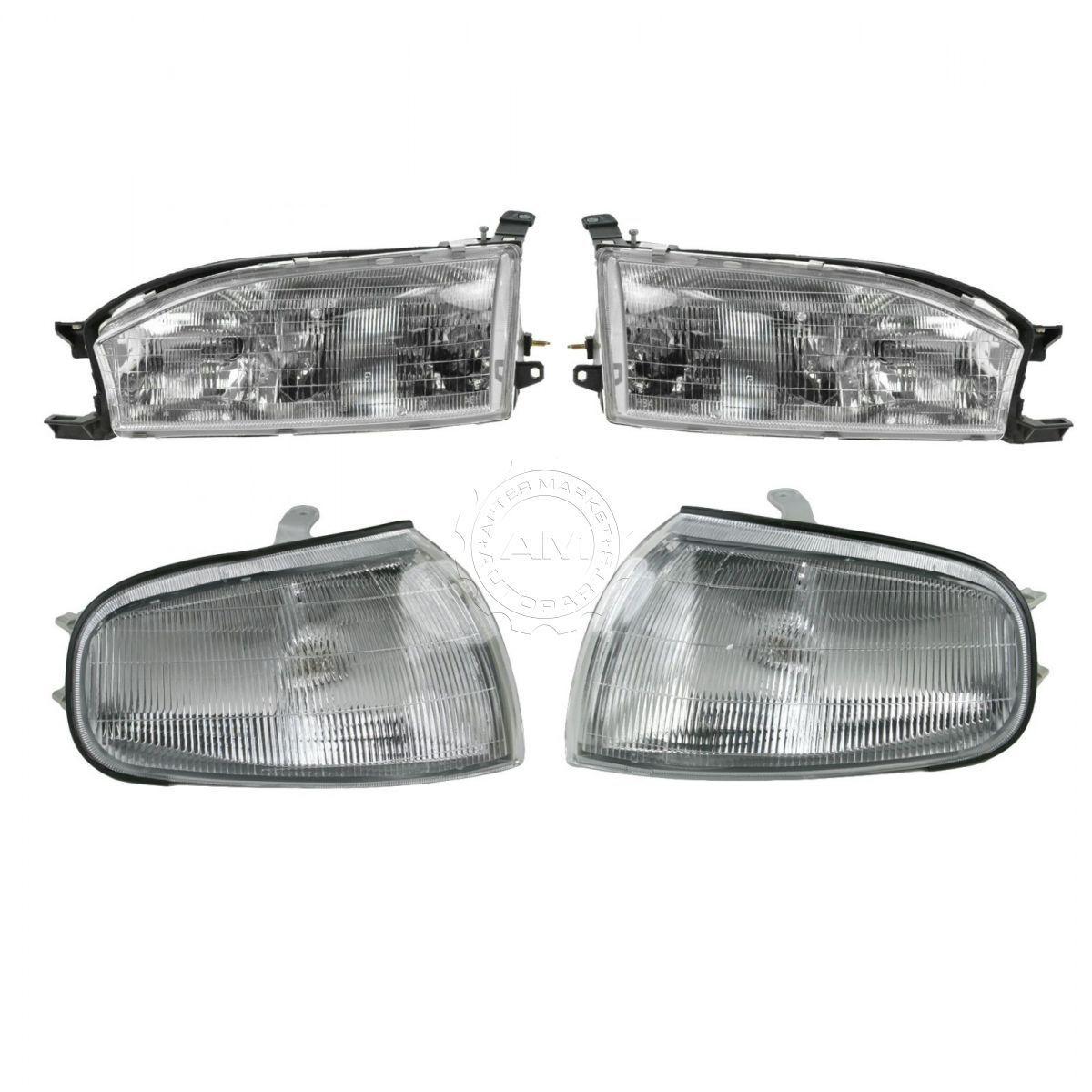 コーナーライト Headlights & Parking Corner Lights Left & Right Kit Set for 92-94 Toyota Camry ヘッドライト& 駐車コーナーライト左& 92-94トヨタカムリ用右キットセット