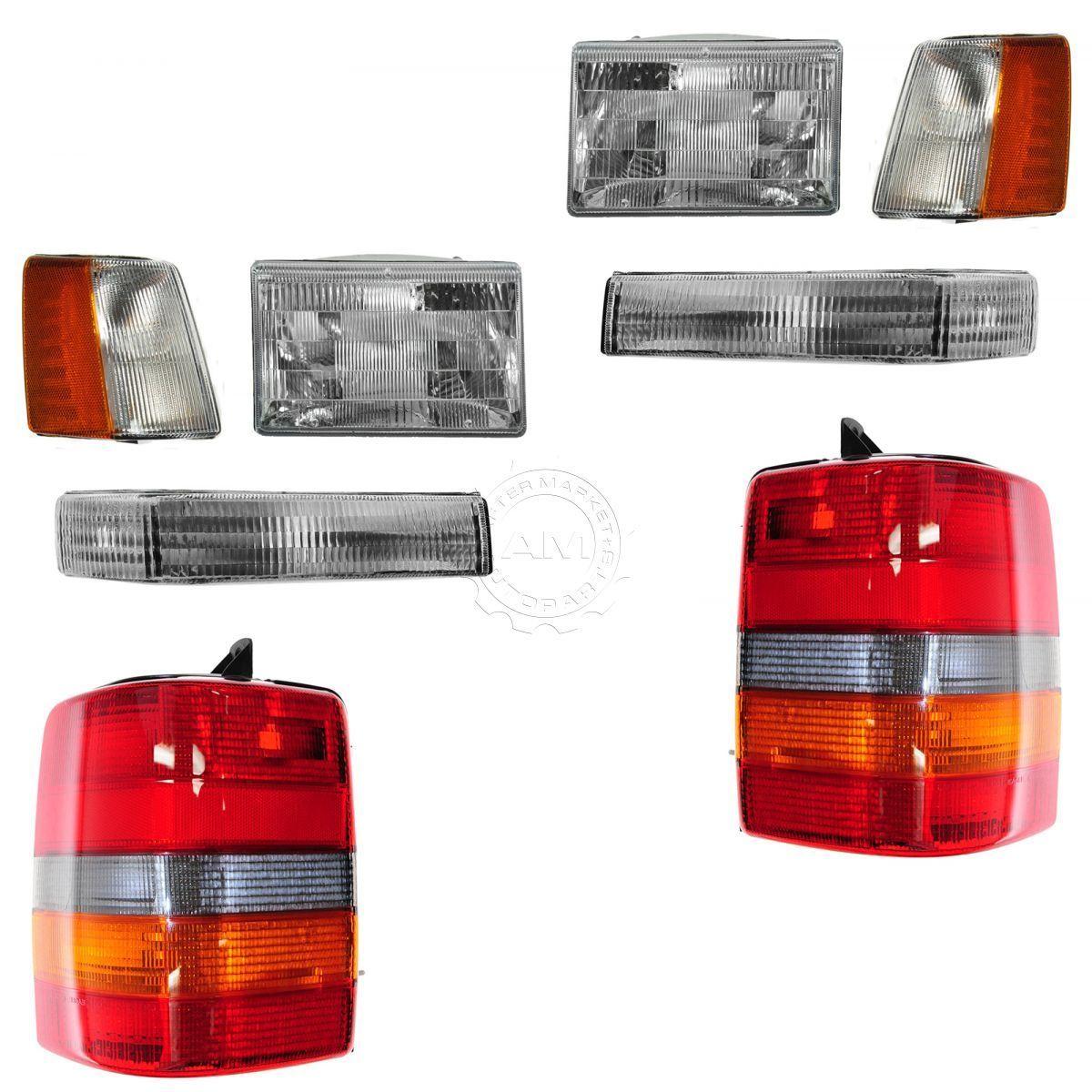 コーナーライト Headlights & Parking Corner Lights & Taillights Set Kit for 97-98 Grand Cherokee ヘッドライト& パーキングコーナーライト& 97-98グランドチェロキー用のティアライズセットキット