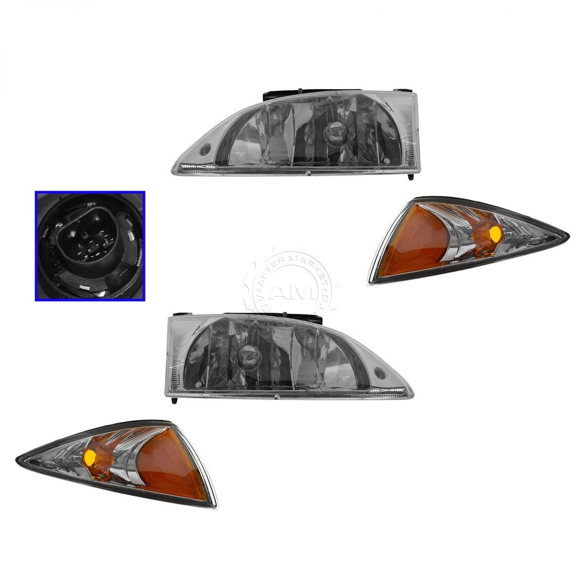 コーナーライト Headlights & Parking Corner Lights Left & Right Kit Set for 00-02 Chevy Cavalier ヘッドライト& 駐車コーナーライト左& 右のキットは00-02シボレー・キャバリアにセット