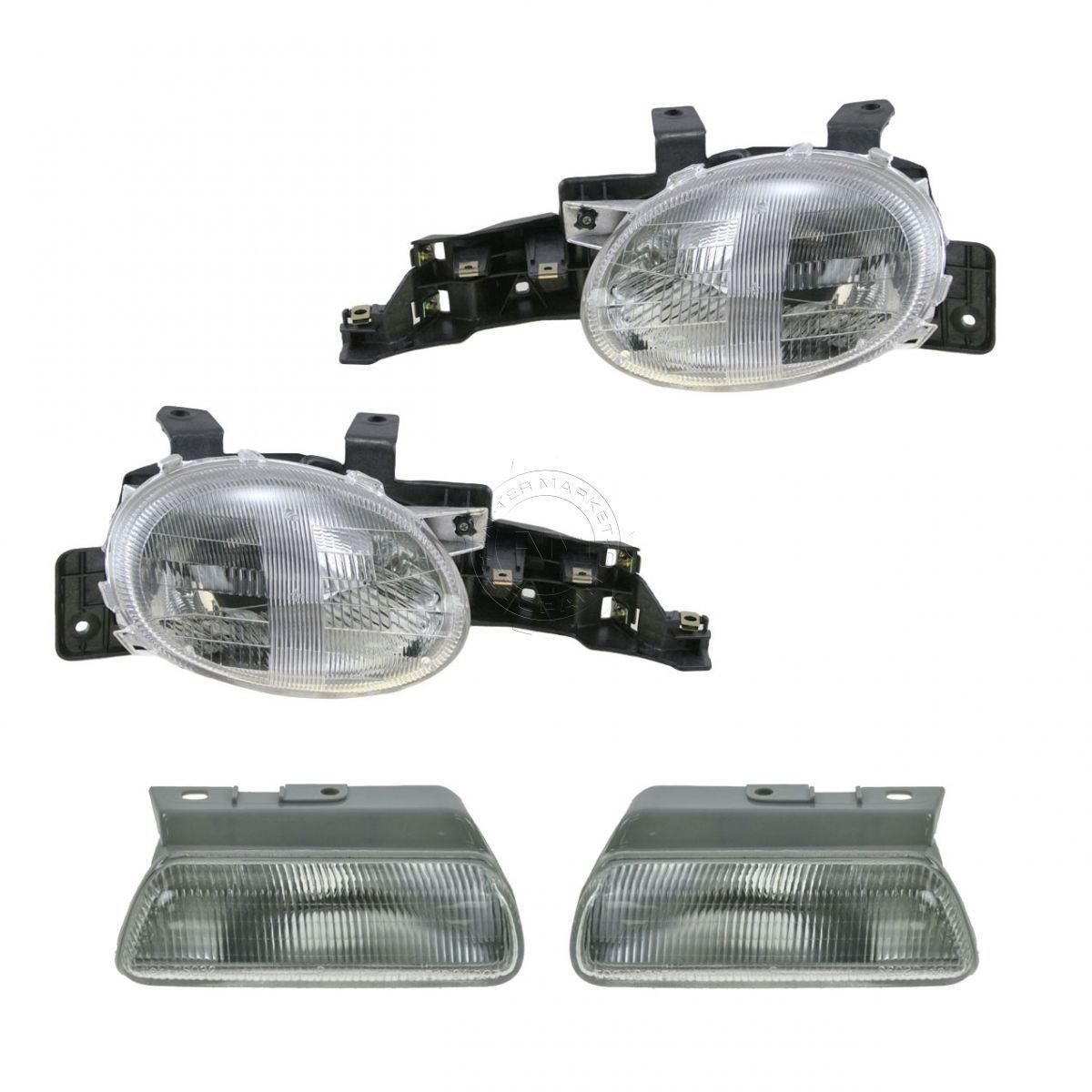 コーナーライト Headlights Headlamps & Corner Parking Lights Left & Right Set Kit for 95-99 Neon ヘッドライトヘッドランプ& コーナーパーキングライト& 95-99ネオンの右セットキット