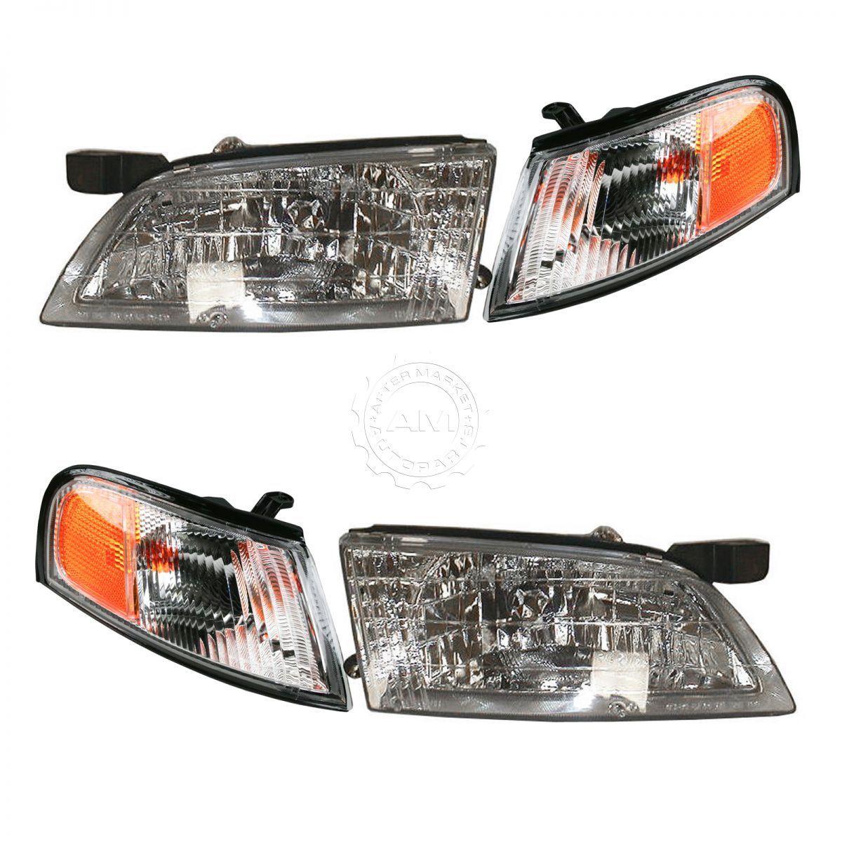 コーナーライト Headlights Headlamps & Parking Corner Lights LH & RH Pair Set for 98-99 Altima ヘッドライトヘッドランプ& パーキングコーナーライトLH& RHペアは98-99アルティマにセット