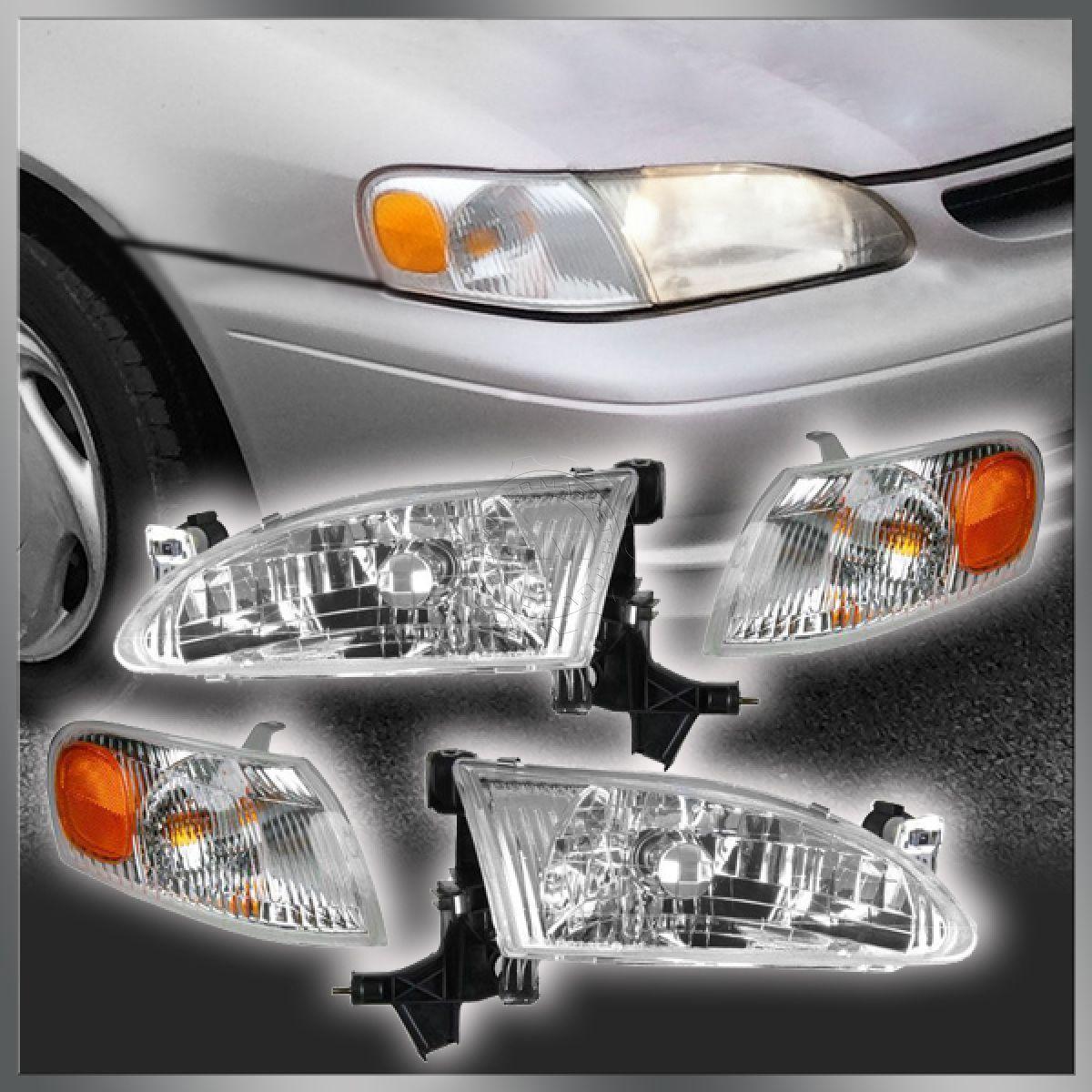 コーナーライト Headlights Headlamps & Corner Parking Lights Kit Set for 98-00 Toyota Corolla ヘッドライトヘッドランプ& コーナーパーキングライトキットセット98-00トヨタカローラ