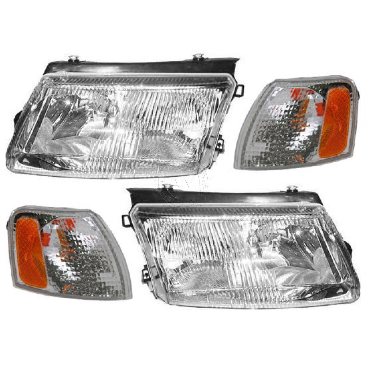 コーナーライト Headlights Headlamps & Side Marker Corner Parking Light Kit Set for 98-01 Passat ヘッドライトヘッドランプ& サイドマーカコーナーパーキングライトキットセットfor 98-01 Passat