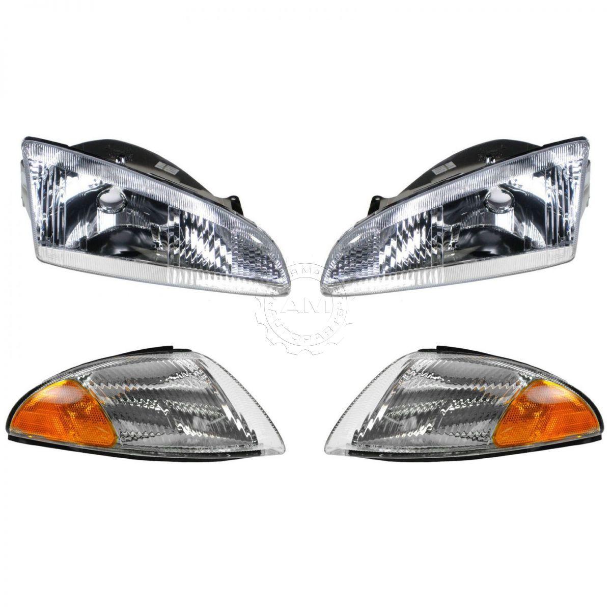 コーナーライト Headlights & Parking Corner Lights Left & Right Kit Set for 95-97 Dodge Intrepid ヘッドライト& 駐車コーナーライト左& 95-97 Dodge Intrepidのための正しいキットセット