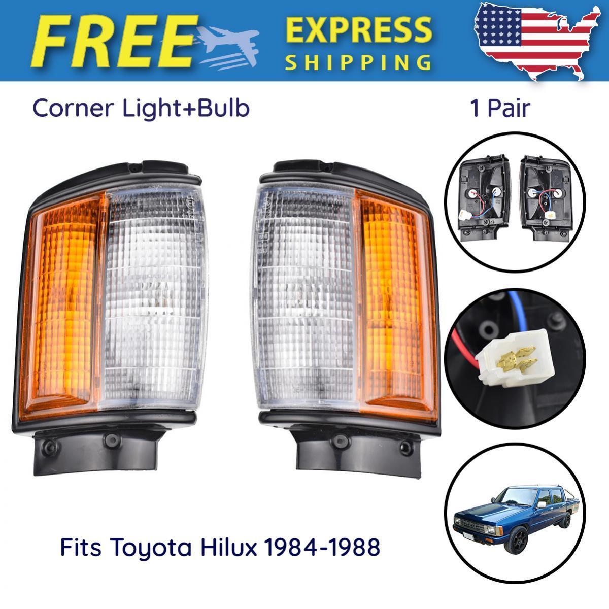 コーナーライト Pair Corner Lights Turn Lamp +Bulb Fits Toyota Hilux Utility Pickup 1984-1988 ペアコーナーライトターンランプ+バルブフィットトヨタHiluxユーティリティピックアップ1984-1988