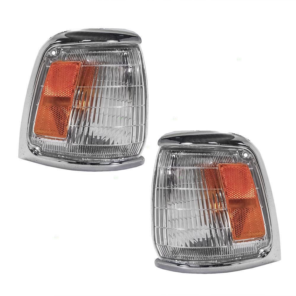 コーナーライト New Pair Set Park Signal Corner Lamp Chrome Trim for 89-91 Toyota Pickup 2WD 新しいペアセットパーク信号コーナーランプクロムトリムfor 89-91 Toyota Pickup 2WD